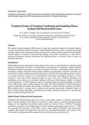 Primary view of object titled 'Terahertz Probes of Transient Conducting and Insulating Phases in Quasi-2D Electron-hole Gases'.