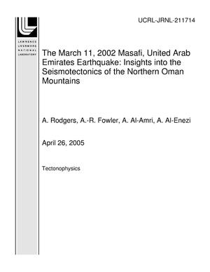 Primary view of object titled 'The March 11, 2002 Masafi, United Arab Emirates Earthquake: Insights into the Seismotectonics of the Northern Oman Mountains'.