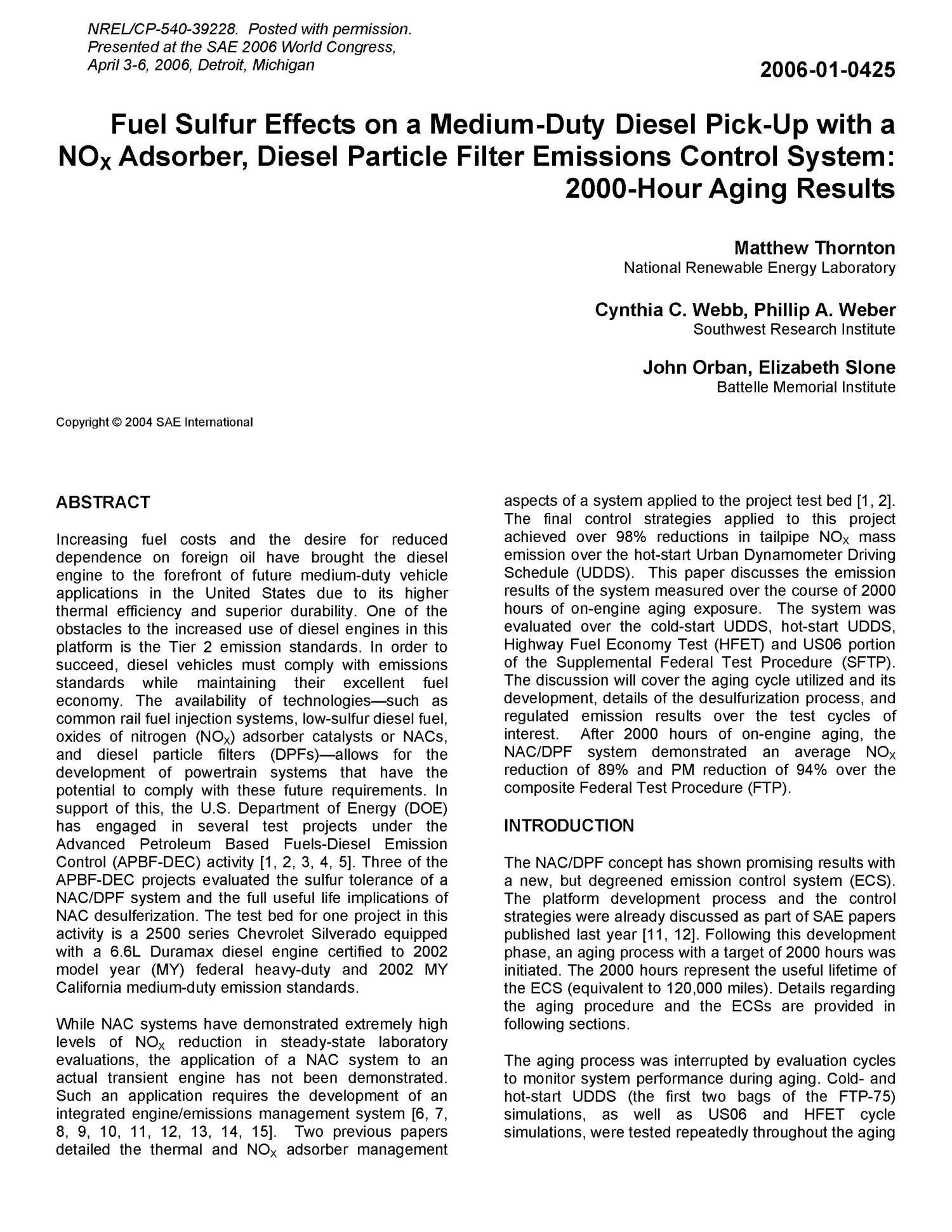 Fuel Sulfur Effects On A Medium Duty Diesel Pick Up With Nox Webb Filters Adsorber Particle Filter Emissions Control System 2000 Hour Aging Results Digital
