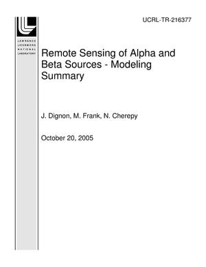 Primary view of object titled 'Remote Sensing of Alpha and Beta Sources - Modeling Summary'.