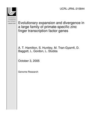 Primary view of object titled 'Evolutionary expansion and divergence in a large family of primate-specific zinc finger transcription factor genes'.