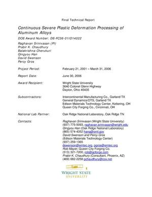 Primary view of object titled 'Continuous Severe Plastic Deformation Processing of Aluminum Alloys'.