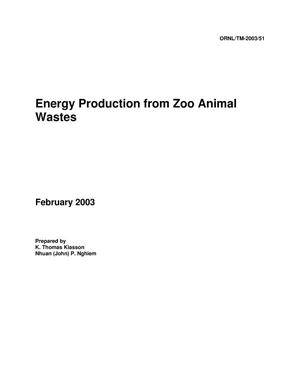 Primary view of object titled 'Energy Production from Zoo Animal Wastes'.