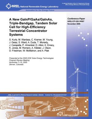Primary view of object titled 'New GaInP/GaAs/GaInAs, Triple-Bandgap, Tandem Solar Cell for High-Efficiency Terrestrial Concentrator Systems'.
