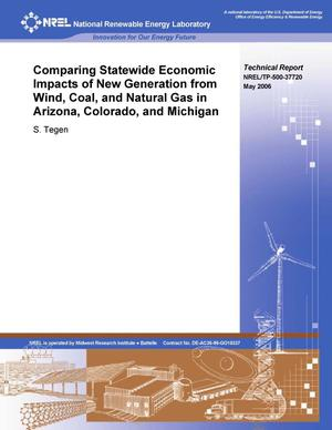 Primary view of object titled 'Comparing Statewide Economic Impacts of New Generation from Wind, Coal, and Natural Gas in Arizona, Colorado, and Michigan'.