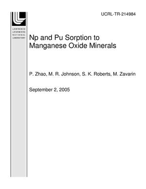 Primary view of object titled 'Np and Pu Sorption to Manganese Oxide Minerals'.