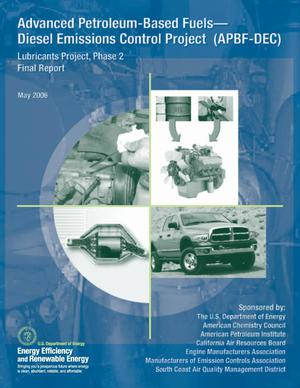 Primary view of object titled 'Advanced Petroleum-Based Fuels -- Diesel Emissions Control Project (APBF-DEC): Lubricants Project, Phase 2 Final Report'.