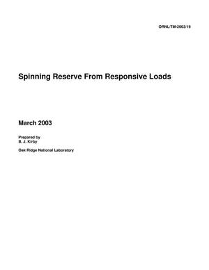 Primary view of object titled 'Spinning Reserve From Responsive Loads'.