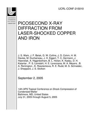 Primary view of object titled 'PICOSECOND X-RAY DIFFRACTION FROM LASER-SHOCKED COPPER AND IRON'.