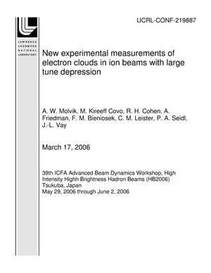 Primary view of object titled 'New experimental measurements of electron clouds in ion beams with large tune depression'.