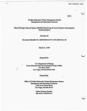 Primary view of object titled 'MINED GEOLOGIC DISPOSAL SYSTEM (MGDS) MONITORING & CONTROL SYSTEMS CENTRALIZATION TECHNICAL REPORT'.