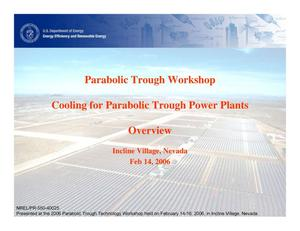Primary view of object titled 'Cooling for Parabolic Trough Power Plants: Overview (Presentation)'.