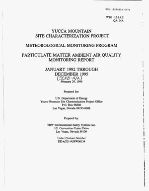 Primary view of object titled 'METEOROLOGICAL MONITORING PROGRAM, PARTICULATE MATTER AMBIENT AIR QUALITY MONITORING REPORT, JANUARY 1992 THROUGH DECEMBER 1995'.