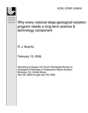 Primary view of object titled 'Why every national deep-geological-isolation program needs a long-term science & technology component'.