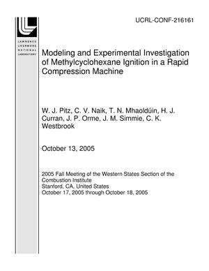 Primary view of object titled 'Modeling and Experimental Investigation of Methylcyclohexane Ignition in a Rapid Compression Machine'.