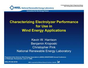 Primary view of object titled 'Characterizing Electrolyzer Performance for Use in Wind Energy Applications (Presentation)'.