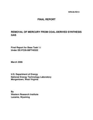 Primary view of object titled 'REMOVAL OF MERCURY FROM COAL-DERIVED SYNTHESIS GAS'.