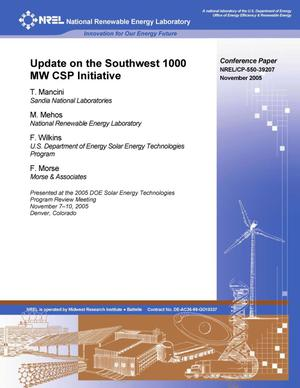 Primary view of object titled 'Update on the Southwest 1000 MW CSP Initiative'.