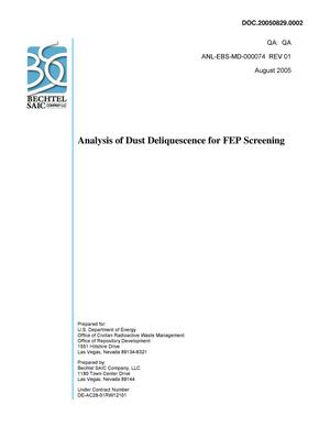 Primary view of object titled 'ANALYSIS OF DUST DELIQUESCENCE FOR FEP SCREENING'.
