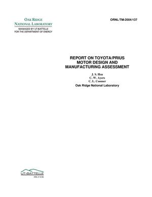 Primary view of object titled 'Report on Toyota/Prius Motor Design and Manufacturing Assessment'.