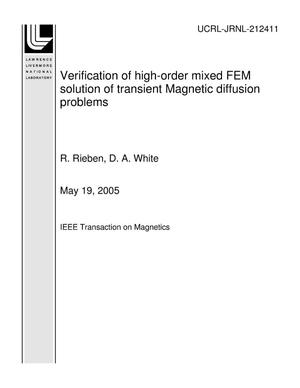 Primary view of object titled 'Verification of high-order mixed FEM solution of transient Magnetic diffusion problems'.