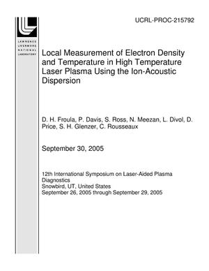 Primary view of object titled 'Local Measurement of Electron Density and Temperature in High Temperature Laser Plasma Using the Ion-Acoustic Dispersion'.