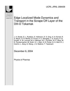 Primary view of object titled 'Edge Localized Mode Dynamics and Transport in the Scrape-Off Layer of the DIII-D Tokamak'.