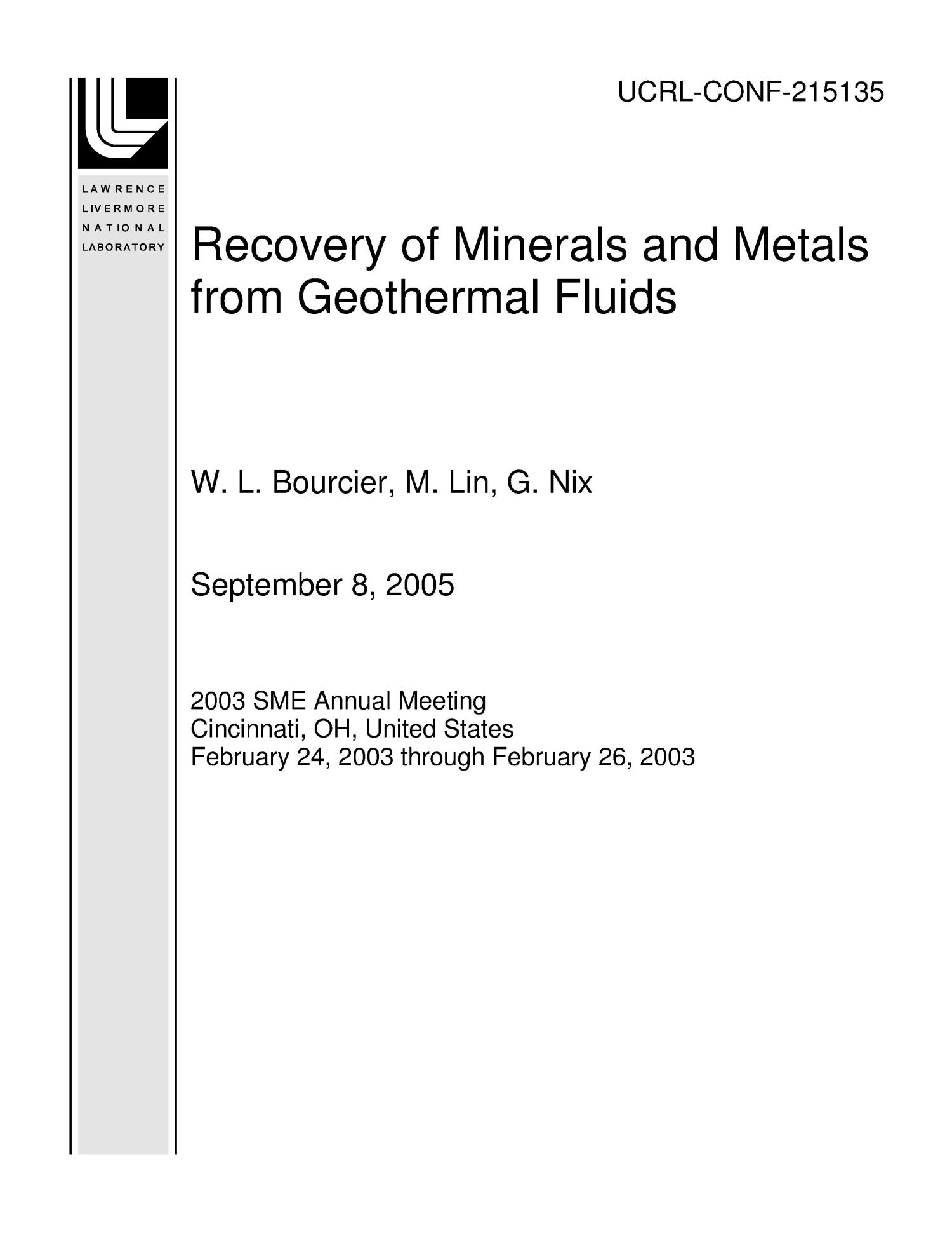 Recovery of Minerals and Metals from Geothermal Fluids                                                                                                      [Sequence #]: 1 of 19