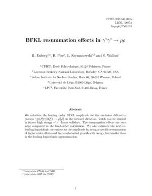 Primary view of object titled 'BFKL resummation effects in gamma* gamma* to rho rho'.