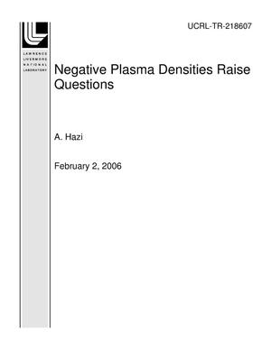 Primary view of object titled 'Negative Plasma Densities Raise Questions'.