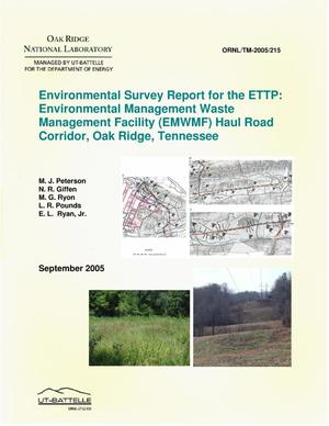 Primary view of object titled 'Environmental Survey Report for the ETTP: Environmental Management Waste Management Facility (EMWMF) Haul Road Corridor, Oak Ridge, Tennessee'.