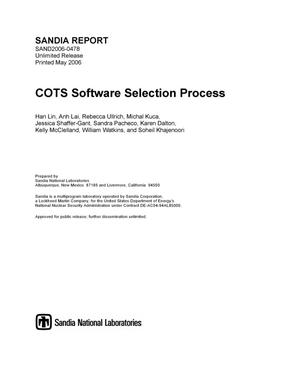 Primary view of object titled 'COTS software selection process.'.