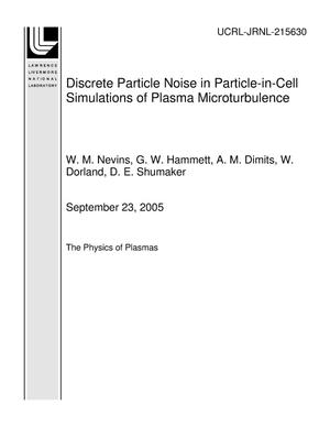 Primary view of object titled 'Discrete Particle Noise in Particle-in-Cell Simulations of Plasma Microturbulence'.
