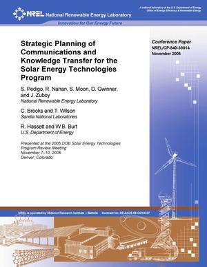 Primary view of object titled 'Strategic Planning of Communications and Knowledge Transfer for the Solar Energy Technologies Program'.