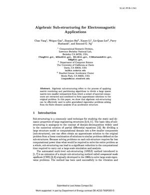 Primary view of object titled 'Algebraic Sub-Structuring for Electromagnetic Applications'.