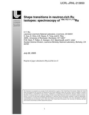 Primary view of object titled 'Shape transitions in neutron-rich Ru isotopes: spectroscopy of 109,110,111,112Ru'.