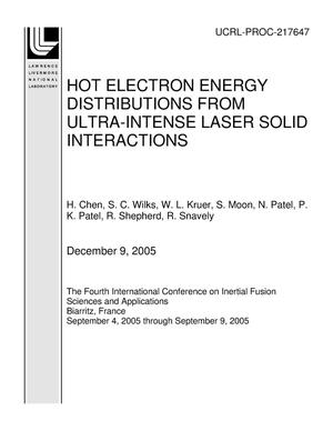 Primary view of object titled 'HOT ELECTRON ENERGY DISTRIBUTIONS FROM ULTRA-INTENSE LASER SOLID INTERACTIONS'.
