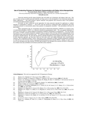 Primary view of object titled 'Use of Conducting Polymers for Electronic Communication with Redox Active Nanoparticles'.