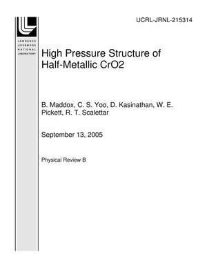 Primary view of object titled 'High Pressure Structure of Half-Metallic CrO2'.