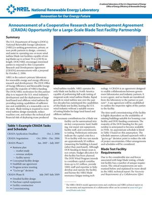 Primary view of object titled 'Announcement of a Cooperative Research and Development Agreement (CRADA) Opportunity for a Large-Scale Blade Test Facility Partnership'.