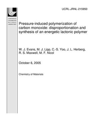 Primary view of object titled 'Pressure-induced polymerization of carbon monoxide: disproportionation and synthesis of an energetic lactonic polymer'.