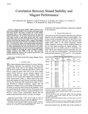 Primary view of object titled 'Correlation between Strand Stability and Magnet Performance'.