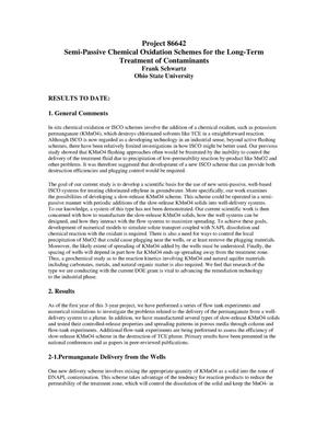 Primary view of object titled 'Semi-Passive Chemical Oxidation Schemes for the Long-Term Treatment of Contaminants'.