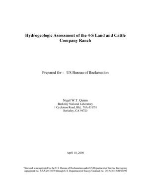 Primary view of object titled 'Hydrogeologic Assessment of the 4-S Land and Cattle CompanyRanch'.