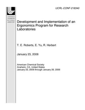 Primary view of object titled 'Development and Implementation of an Ergonomics Program for Research Laboratories'.