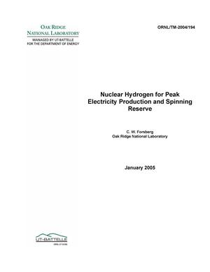 Primary view of object titled 'Nuclear Hydrogen for Peak Electricity Production and Spinning Reserve'.