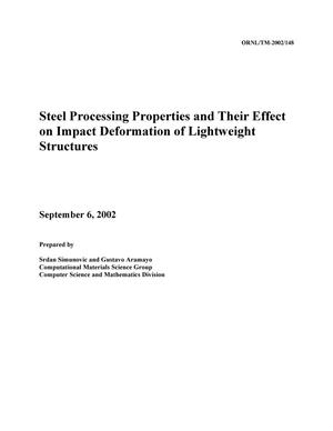 Primary view of object titled 'Steel Processing Properties and Their Effect on Impact Deformation of Lightweight Structures'.