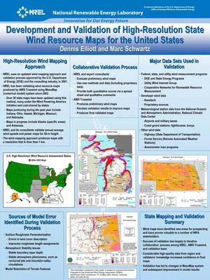 Primary view of object titled 'Development and Validation of High-Resolution State Wind Resource Maps for the United States (Poster)'.