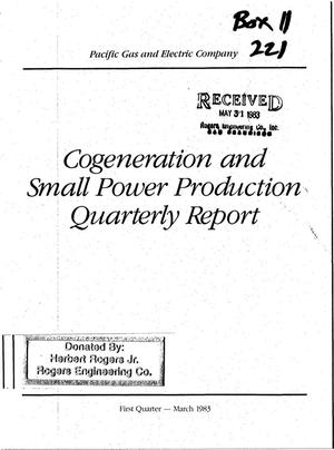Primary view of object titled 'Cogeneration and Small Power Production Quarterly Report to the California Public Utilities Commission First Quarter - March 1983'.