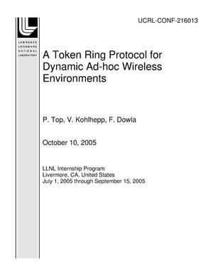 Primary view of object titled 'A Token Ring Protocol for Dynamic Ad-hoc Wireless Environments'.